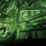 Industrial zone, Steel pipelines and equipment in green tones